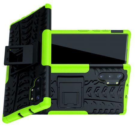 Двухкомпонентный Противоскользящий Гибридный Противоударный Чехол для Samsung Galaxy Note 10 Plus с Подставкой Зеленый / Черный