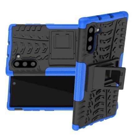 Двухкомпонентный Противоскользящий Гибридный Противоударный Чехол для Samsung Galaxy Note 10 с Подставкой Синий / Черный
