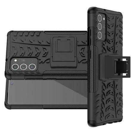 Двухкомпонентный Противоскользящий Гибридный Противоударный Чехол для Samsung Galaxy Note 20 с Подставкой Черный