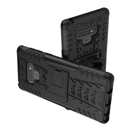 Двухкомпонентный Противоскользящий Гибридный Противоударный Чехол для Samsung Galaxy Note 9 с Подставкой Черный