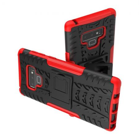 Двухкомпонентный Противоскользящий Гибридный Противоударный Чехол для Samsung Galaxy Note 9 с Подставкой Красный