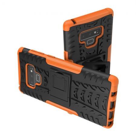 Двухкомпонентный Противоскользящий Гибридный Противоударный Чехол для Samsung Galaxy Note 9 с Подставкой Оранжевый