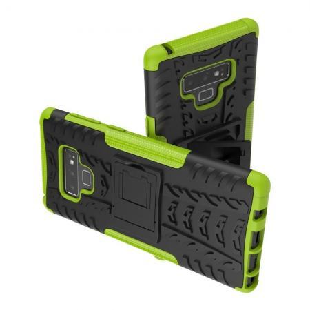 Двухкомпонентный Противоскользящий Гибридный Противоударный Чехол для Samsung Galaxy Note 9 с Подставкой Зеленый