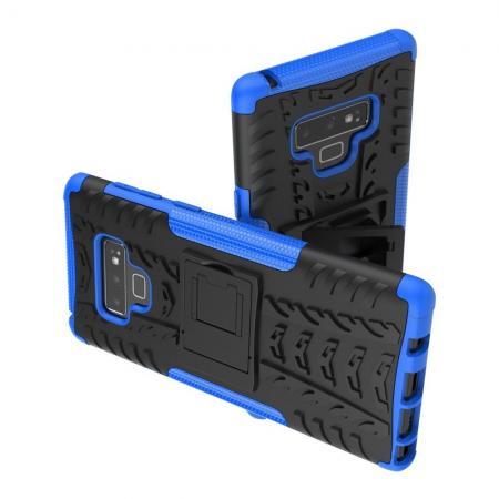 Двухкомпонентный Противоскользящий Гибридный Противоударный Чехол для Samsung Galaxy Note 9 с Подставкой Синий