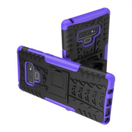 Двухкомпонентный Противоскользящий Гибридный Противоударный Чехол для Samsung Galaxy Note 9 с Подставкой Фиолетовый