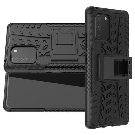 Двухкомпонентный Противоскользящий Гибридный Противоударный Чехол для Samsung Galaxy S10 Lite с Подставкой Черный