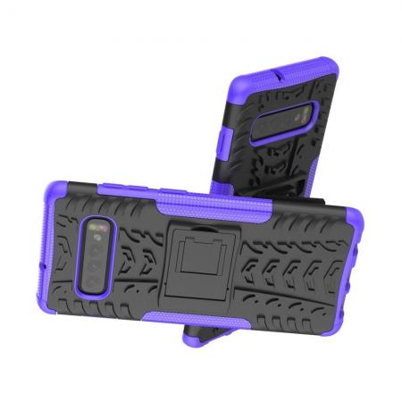 Двухкомпонентный Противоскользящий Гибридный Противоударный Чехол для Samsung Galaxy S10 с Подставкой Фиолетовый