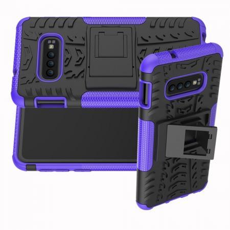 Двухкомпонентный Противоскользящий Гибридный Противоударный Чехол для Samsung Galaxy S10e с Подставкой Фиолетовый