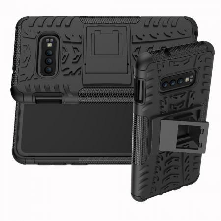 Двухкомпонентный Противоскользящий Гибридный Противоударный Чехол для Samsung Galaxy S10e с Подставкой Черный