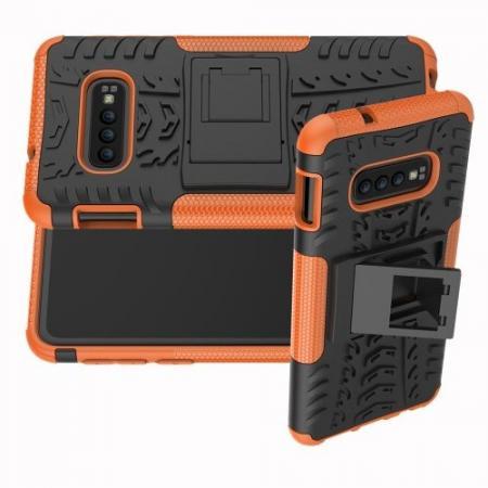 Двухкомпонентный Противоскользящий Гибридный Противоударный Чехол для Samsung Galaxy S10e с Подставкой Оранжевый