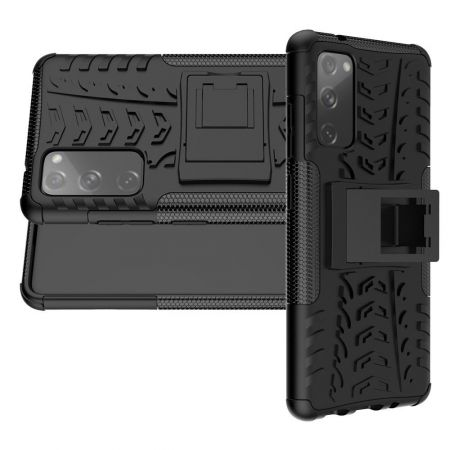 Двухкомпонентный Противоскользящий Гибридный Противоударный Чехол для Samsung Galaxy S20 FE с Подставкой Черный