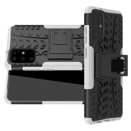 Двухкомпонентный Противоскользящий Гибридный Противоударный Чехол для Samsung Galaxy S20 Plus с Подставкой Белый