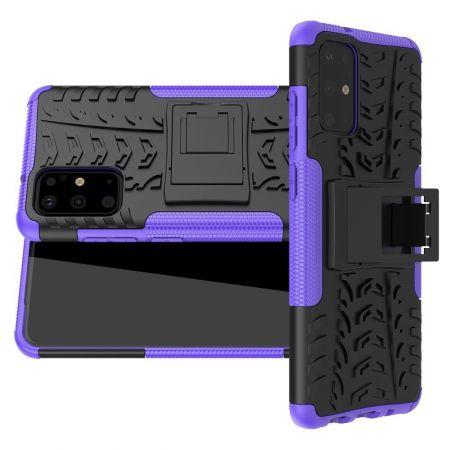 Двухкомпонентный Противоскользящий Гибридный Противоударный Чехол для Samsung Galaxy S20 Plus с Подставкой Фиолетовый