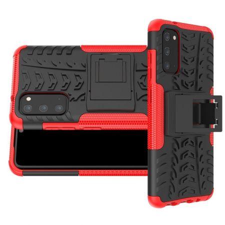 Двухкомпонентный Противоскользящий Гибридный Противоударный Чехол для Samsung Galaxy S20 с Подставкой Красный