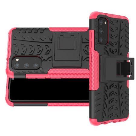 Двухкомпонентный Противоскользящий Гибридный Противоударный Чехол для Samsung Galaxy S20 с Подставкой Розовый