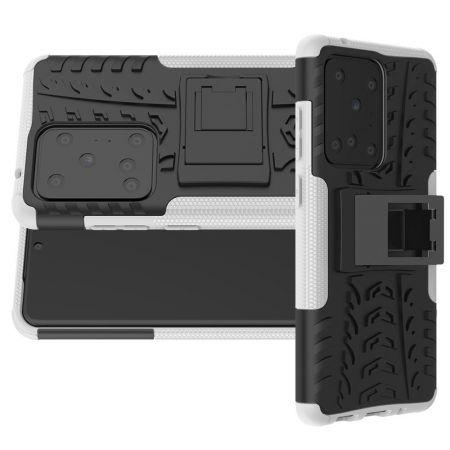 Двухкомпонентный Противоскользящий Гибридный Противоударный Чехол для Samsung Galaxy S20 Ultra с Подставкой Белый