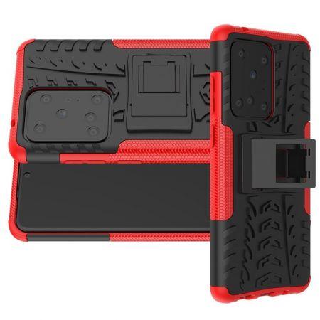 Двухкомпонентный Противоскользящий Гибридный Противоударный Чехол для Samsung Galaxy S20 Ultra с Подставкой Красный