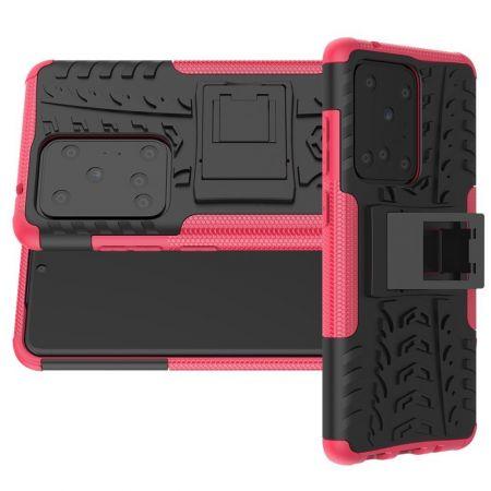 Двухкомпонентный Противоскользящий Гибридный Противоударный Чехол для Samsung Galaxy S20 Ultra с Подставкой Розовый