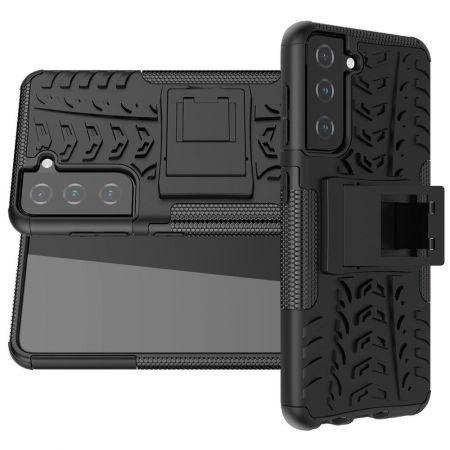 Двухкомпонентный Противоскользящий Гибридный Противоударный Чехол для Samsung Galaxy S21 с Подставкой Черный