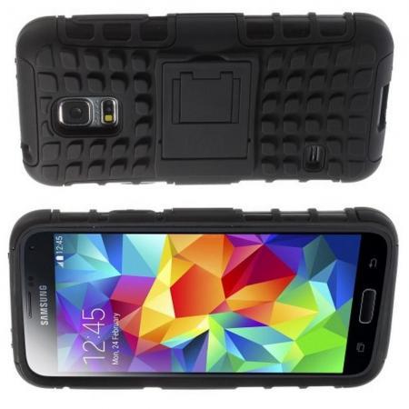 Двухкомпонентный Противоскользящий Гибридный Противоударный Чехол для Samsung Galaxy S5 Mini с Подставкой Черный