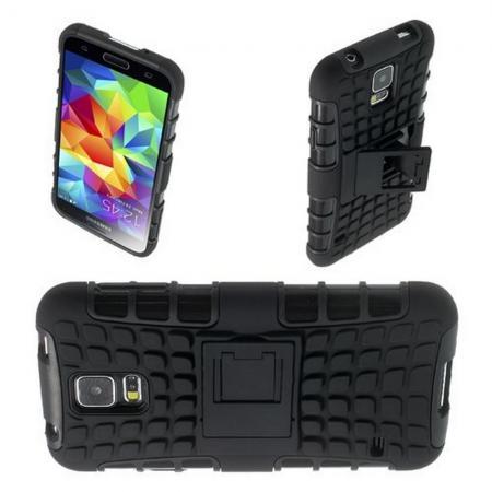 Двухкомпонентный Противоскользящий Гибридный Противоударный Чехол для Samsung Galaxy S5 с Подставкой Черный