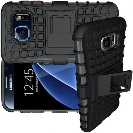 Двухкомпонентный Противоскользящий Гибридный Противоударный Чехол для Samsung Galaxy S6 с Подставкой Черный