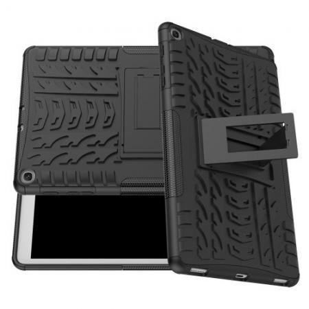 Двухкомпонентный Противоскользящий Гибридный Противоударный Чехол для Samsung Galaxy TAB A 10.1 2019 SM-T515 SM-T510 с Подставкой Черный