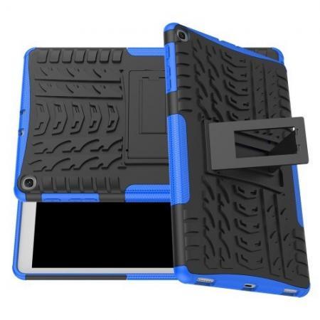 Двухкомпонентный Противоскользящий Гибридный Противоударный Чехол для Samsung Galaxy TAB A 10.1 2019 SM-T515 SM-T510 с Подставкой Синий