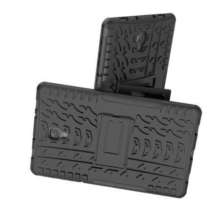 Двухкомпонентный Противоскользящий Гибридный Противоударный Чехол для Samsung Galaxy Tab A 10.5 SM-T595 SM-T590 с Подставкой Черный