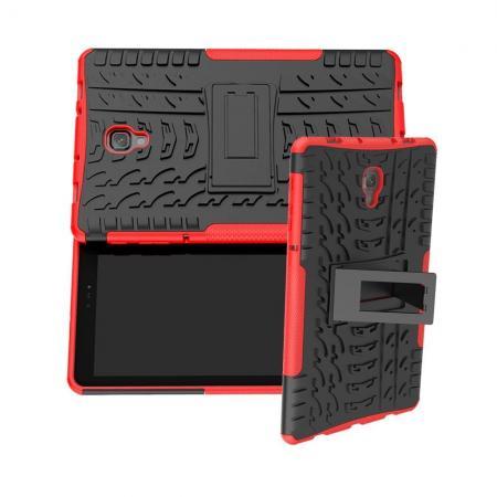 Двухкомпонентный Противоскользящий Гибридный Противоударный Чехол для Samsung Galaxy Tab A 10.5 SM-T595 SM-T590 с Подставкой Красный