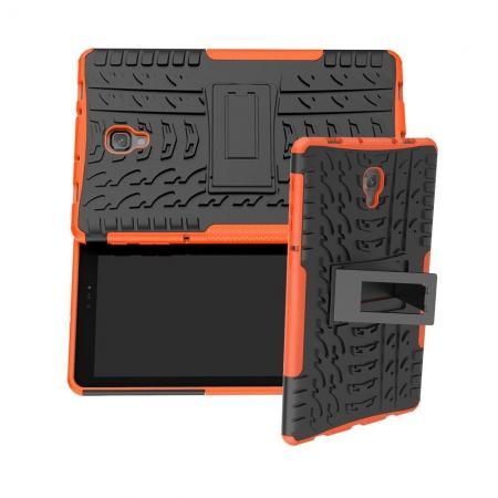 Двухкомпонентный Противоскользящий Гибридный Противоударный Чехол для Samsung Galaxy Tab A 10.5 SM-T595 SM-T590 с Подставкой Оранжевый