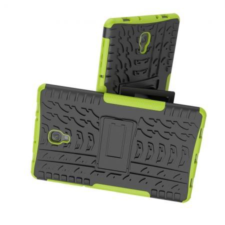 Двухкомпонентный Противоскользящий Гибридный Противоударный Чехол для Samsung Galaxy Tab A 10.5 SM-T595 SM-T590 с Подставкой Зеленый