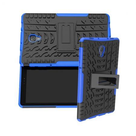 Двухкомпонентный Противоскользящий Гибридный Противоударный Чехол для Samsung Galaxy Tab A 10.5 SM-T595 SM-T590 с Подставкой Синий