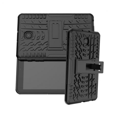 Двухкомпонентный Противоскользящий Гибридный Противоударный Чехол для Samsung Galaxy Tab A 8.0 2018 SM-T387 с Подставкой Черный