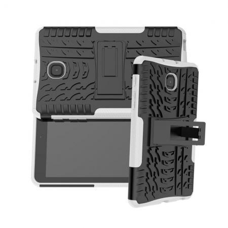 Двухкомпонентный Противоскользящий Гибридный Противоударный Чехол для Samsung Galaxy Tab A 8.0 2018 SM-T387 с Подставкой Белый