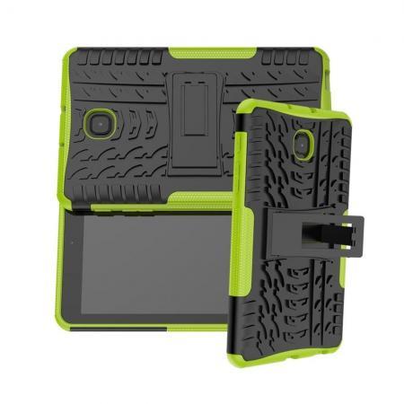 Двухкомпонентный Противоскользящий Гибридный Противоударный Чехол для Samsung Galaxy Tab A 8.0 2018 SM-T387 с Подставкой Зеленый