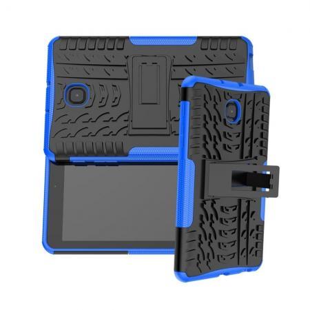 Двухкомпонентный Противоскользящий Гибридный Противоударный Чехол для Samsung Galaxy Tab A 8.0 2018 SM-T387 с Подставкой Синий