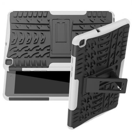 Двухкомпонентный Противоскользящий Гибридный Противоударный Чехол для Samsung Galaxy Tab A 8.0 2019 SM-P200 SM-P205 с Подставкой Белый