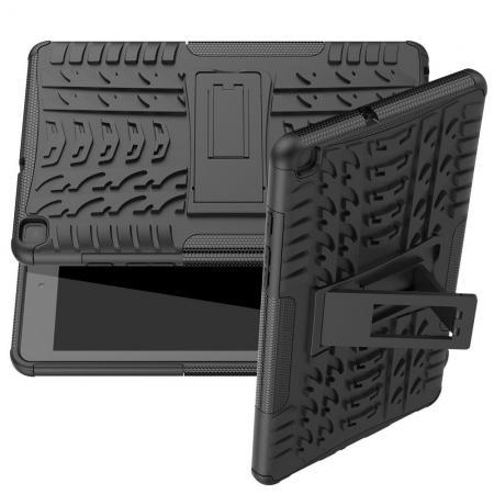 Двухкомпонентный Противоскользящий Гибридный Противоударный Чехол для Samsung Galaxy Tab A 8.0 2019 SM-P200 SM-P205 с Подставкой Черный
