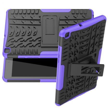 Двухкомпонентный Противоскользящий Гибридный Противоударный Чехол для Samsung Galaxy Tab A 8.0 2019 SM-P200 SM-P205 с Подставкой Фиолетовый