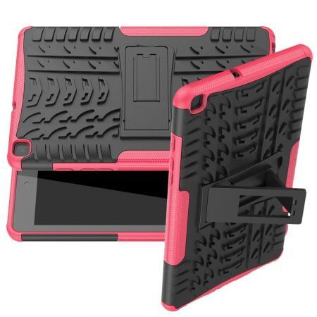 Двухкомпонентный Противоскользящий Гибридный Противоударный Чехол для Samsung Galaxy Tab A 8.0 2019 SM-P200 SM-P205 с Подставкой Розовый