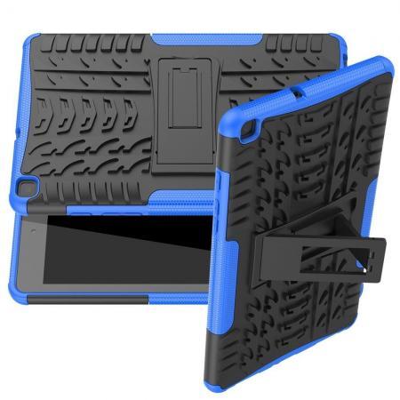 Двухкомпонентный Противоскользящий Гибридный Противоударный Чехол для Samsung Galaxy Tab A 8.0 2019 SM-P200 SM-P205 с Подставкой Синий