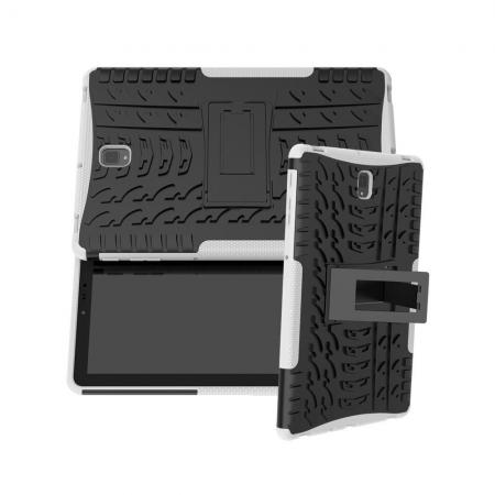Двухкомпонентный Противоскользящий Гибридный Противоударный Чехол для Samsung Galaxy Tab S4 10.5 SM-T830 SM-T835 с Подставкой Белый