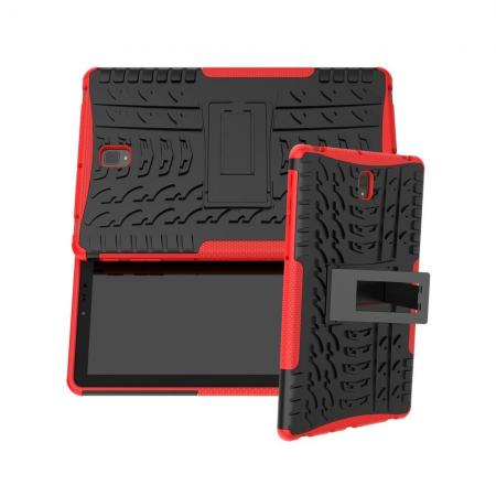Двухкомпонентный Противоскользящий Гибридный Противоударный Чехол для Samsung Galaxy Tab S4 10.5 SM-T830 SM-T835 с Подставкой Красный