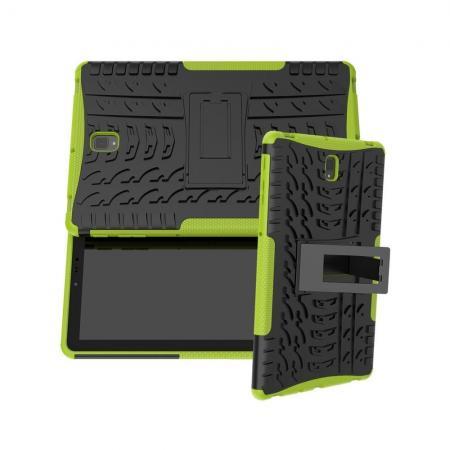 Двухкомпонентный Противоскользящий Гибридный Противоударный Чехол для Samsung Galaxy Tab S4 10.5 SM-T830 SM-T835 с Подставкой Зеленый