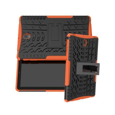Двухкомпонентный Противоскользящий Гибридный Противоударный Чехол для Samsung Galaxy Tab S4 10.5 SM-T830 SM-T835 с Подставкой Оранжевый