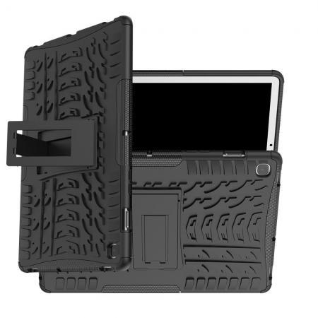 Двухкомпонентный Противоскользящий Гибридный Противоударный Чехол для Samsung Galaxy Tab S5e SM-T720 SM-T725 с Подставкой Черный