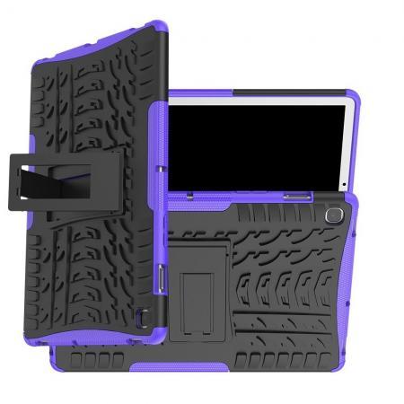 Двухкомпонентный Противоскользящий Гибридный Противоударный Чехол для Samsung Galaxy Tab S5e SM-T720 SM-T725 с Подставкой Фиолетовый
