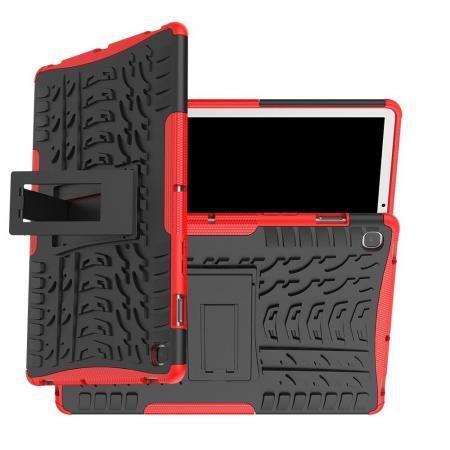 Двухкомпонентный Противоскользящий Гибридный Противоударный Чехол для Samsung Galaxy Tab S5e SM-T720 SM-T725 с Подставкой Красный