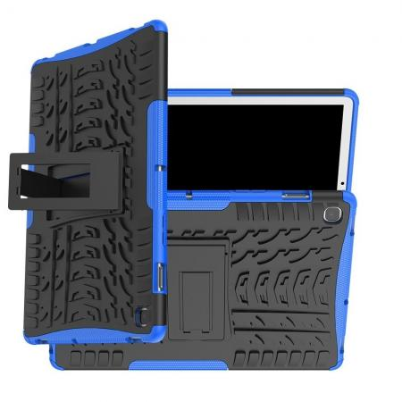 Двухкомпонентный Противоскользящий Гибридный Противоударный Чехол для Samsung Galaxy Tab S5e SM-T720 SM-T725 с Подставкой Синий
